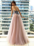 A Line Round Neck Long Tulle Prom Dress with Appliques-simibridal