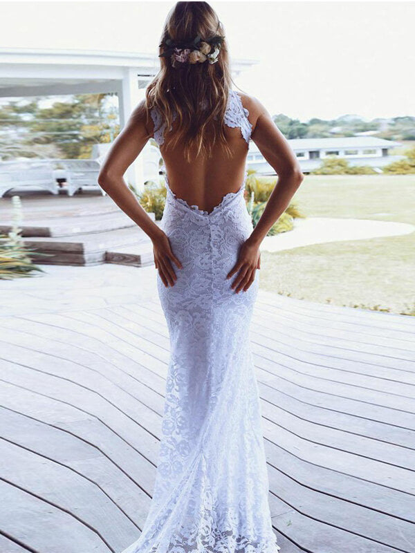 Halter Neck Open Back Mermaid Lace Wedding Dress-simibridal