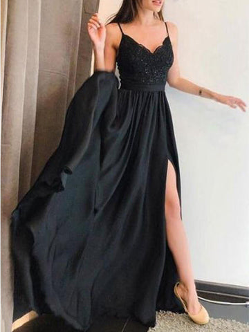 Spaghetti Straps Black Long Prom Dress with Split-simibridal