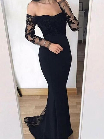 Black Long Mermaid Satin Prom Dress with Lace Long Sleeves-simibridal