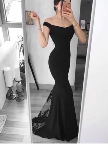 Off Shoulder Black Long Mermaid Prom Dress with Lace-simibridal