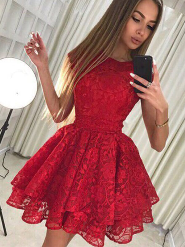 Red Lace Short Homecoming Dress with Layers-simibridal