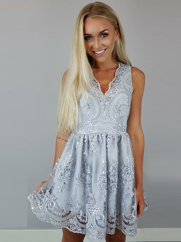 Silver A Line V-neck Short Lace Homecoming Dress