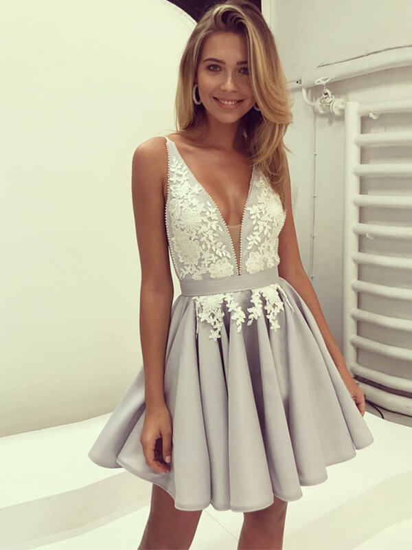 A Line Silver Satin Homecoming Dress with Applique