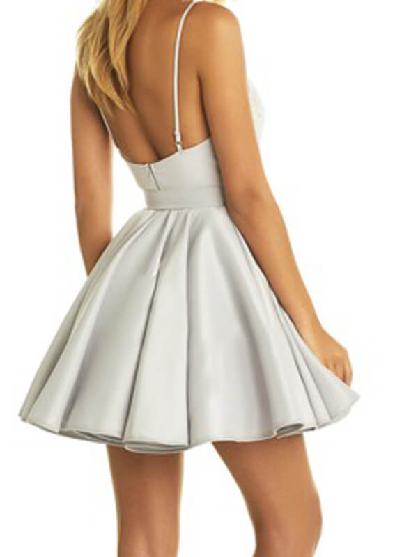 A Line Silver Satin Homecoming Dress with Applique-simibridal