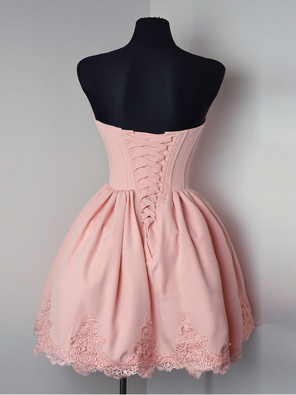 Sweetheart Pink Homecoming Dress with Lace Hemline-simibridal