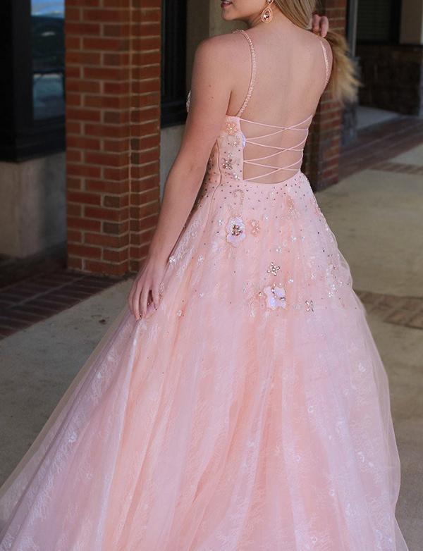 Pink Spaghetti Straps Floor Length Tulle Prom Dresses with Beadings-simibridal