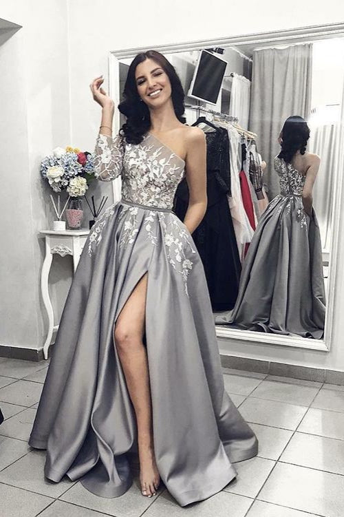 A Line One Shoulder Silver Long Satin Prom Dresses with Split Leg-SIMISPROM