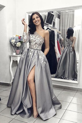 A Line One Shoulder Silver Long Satin Prom Dresses with Split Leg-simibridal