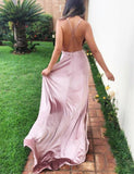 Pink Spaghetti Straps Long Satin Prom Dresses with Split-simibridal