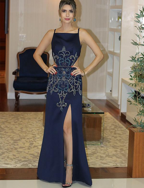 Sexy Navy Blue Backless Long Satin Slit Prom Dresses with Beadings-simibridal