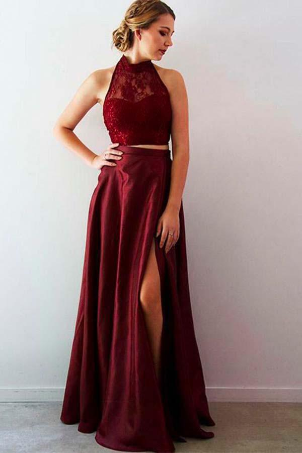 Burgundy Halter Two Pieces Long Satin Prom Dresses with Slit-simibridal