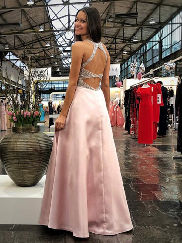 Simple Pink V-neck Long Satin Prom Dresses with Beading Waist-simibridal