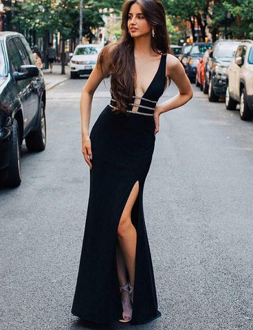 Large V-neck Black Long Mermaid Satin Prom Dresses-simibridal