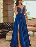 A Line Royal Blue Long Satin Prom Dresses with Split-simibridal