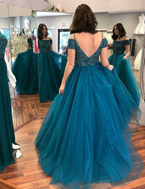 Off Shoulder Floor Length Tulle Prom Ball Gown with Beadings-simibridal