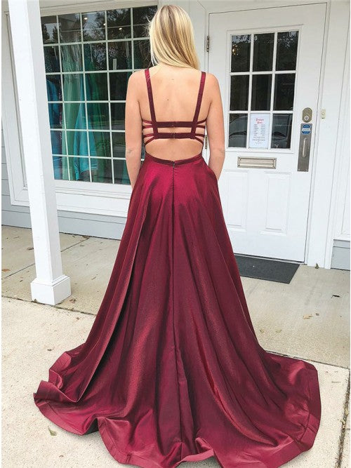 Burgundy Straps Sweep Train Satin Prom Dresses-simibridal