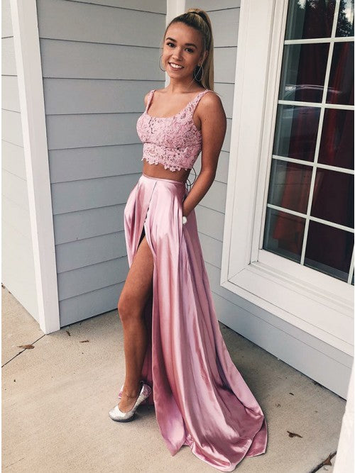 Two Pieces Pink Long Satin Prom Dresses with Split-simibridal