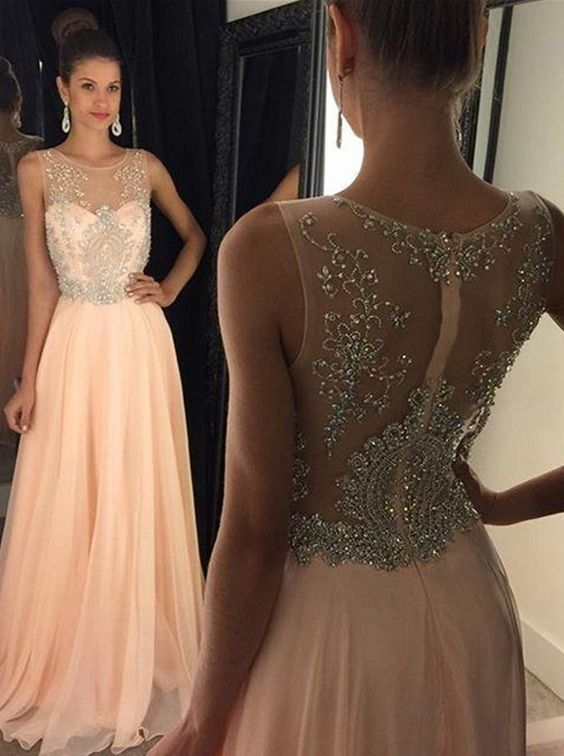 A-Line Crew Neck Floor-Length Chiffon Prom Dress With Beading-simibridal