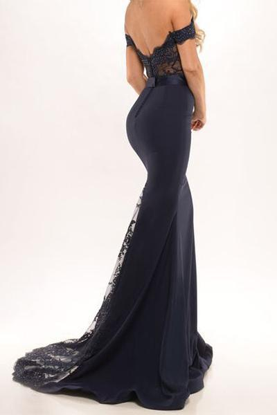 Sweetheart Off Shoulder Black Long Satin Prom Dresses Evening Dresses-simibridal