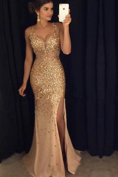 Sexy V-neck Gold Beading Split Long Prom Dresses Evening Dresses-simibridal