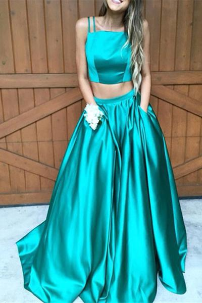 A line Two Pieces Spaghetti Straps Long Prom Dresses Evening Dresses-simibridal