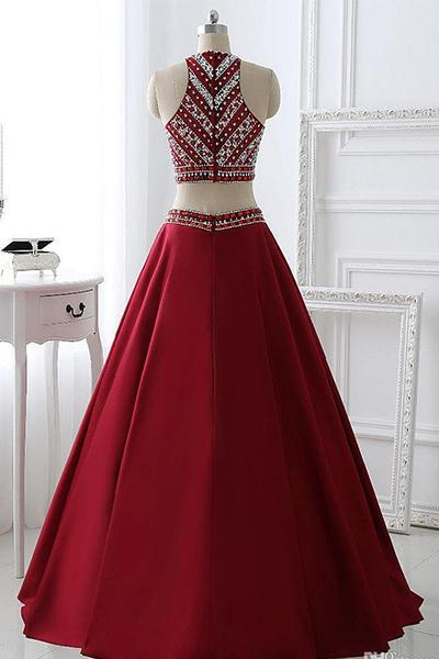 Two Pieces Beading Bodice A Line Long Prom Dresses Evening Dresses (ED1471)