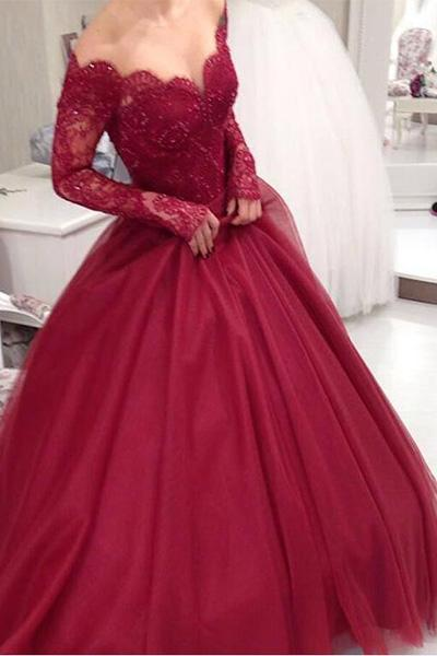 Burgundy Off Shoulder Prom Ball Gown with Long Sleeves-simibridal