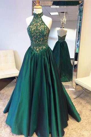 A Line Halter Lace Bodice Long Prom Dresses Evening Dresses(ED1556)