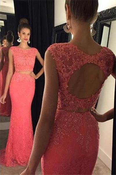 Two Pieces Open back Lace Long Prom Dresses Evening Dresses-simibridal