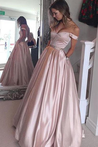 A Line Off Shoulder Pink Long Prom Dresses Ball Gown Evening Dressess-simibridal