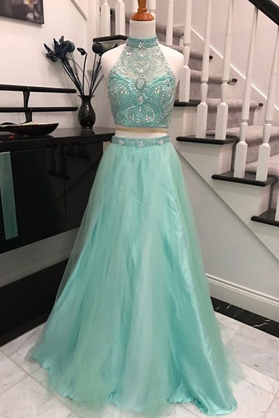 Two Pieces Beading Bodice Long Tulle Prom Dresses Evening Dresses(ED1654ï¼