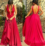 A Line Red V-neck Backless Long Satin Prom Dresses Evening Dresses-simibridal