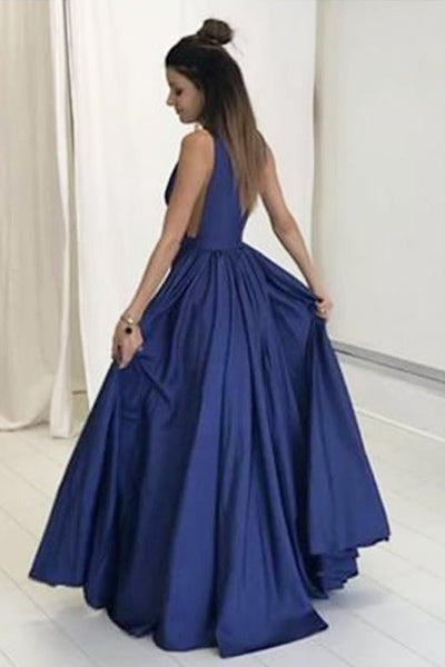 Sexy V-neck Blue Long Satin Prom Dresses Evening Dresses-simibridal