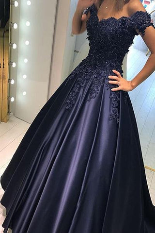 Applique Off Shoulder Long Prom Dresses Evening Dresses-simibridal