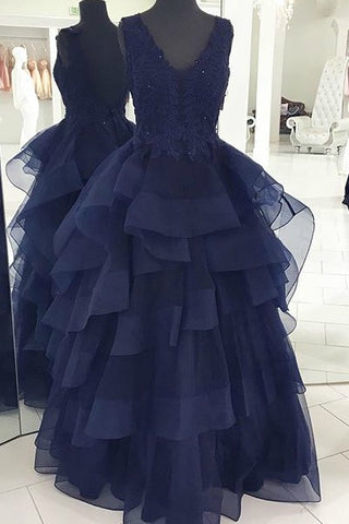 V-neck Navy Blue Long Prom Dresses with Layers(ED1678)