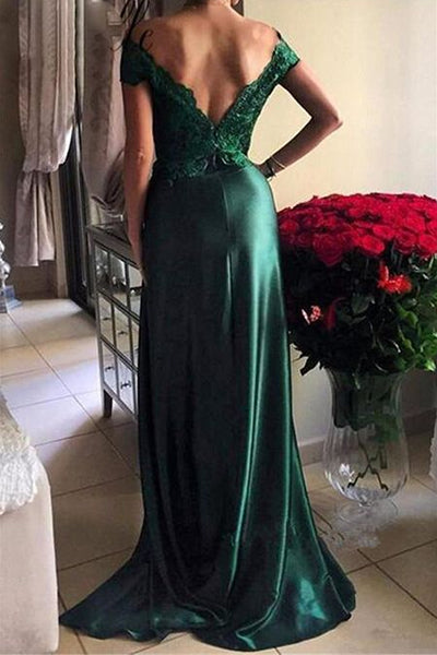 Off Shoulder Lace Bodice Long Split Prom Dresses Evening Dresses-simibridal