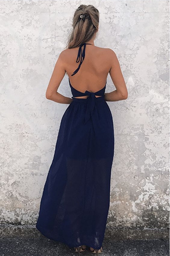 Sexy Navy Blue Long Split Backless Chiffon Prom Dresses-simibridal