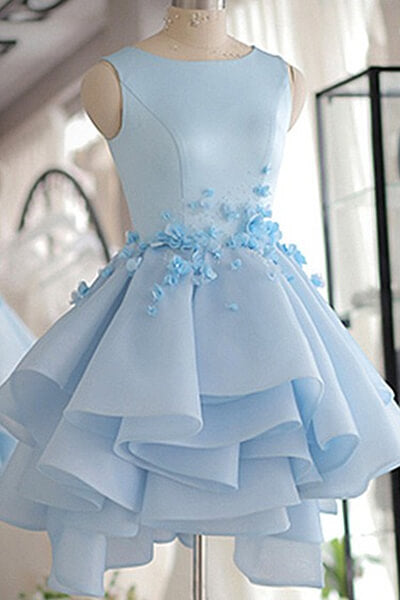 Sky Blue Flower Homecoming Dresses with Layers(ED1849)