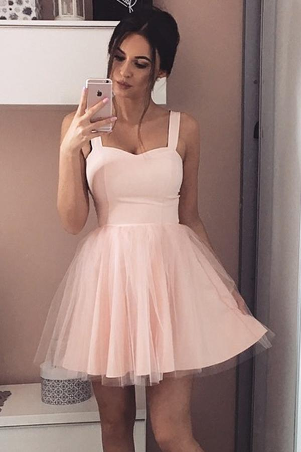 Pink Straps Homecoming Dresses with Tulle-simibridal