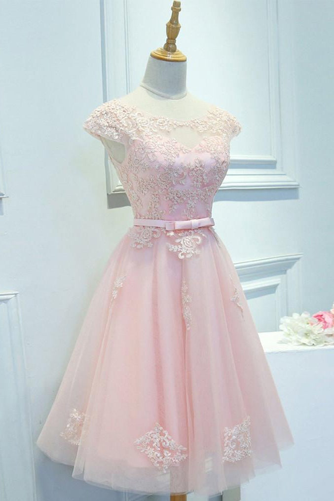 Pink Lace Knee Length Homecoming Dresses with Cap Sleeves (ED1969)