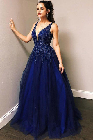 Long Tulle Royal Blue Prom Dress with Beadings(ED202006)