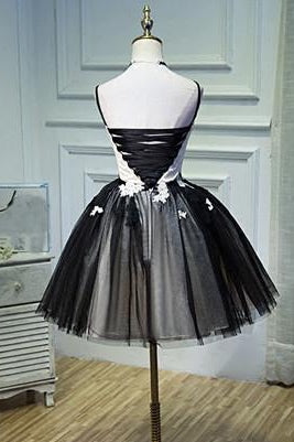 Black and White Spaghetti Straps Homecoming Dress Party Dresses(ED2099)