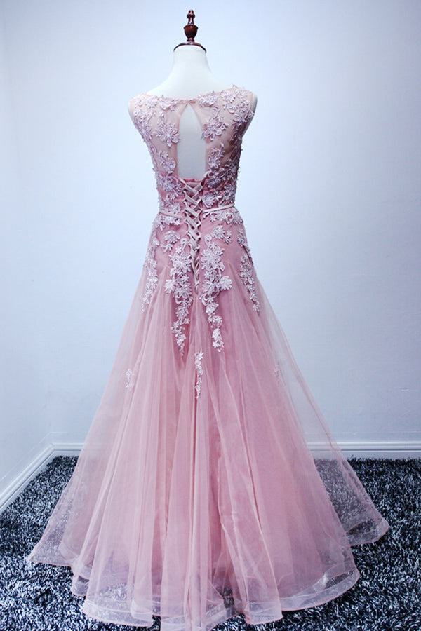 Pink Tulle Round Neck Long Prom Dresses with Applique (ED2115)
