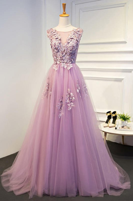 Round Neck Long Tulle Prom Dresses with Applique(ED2120)