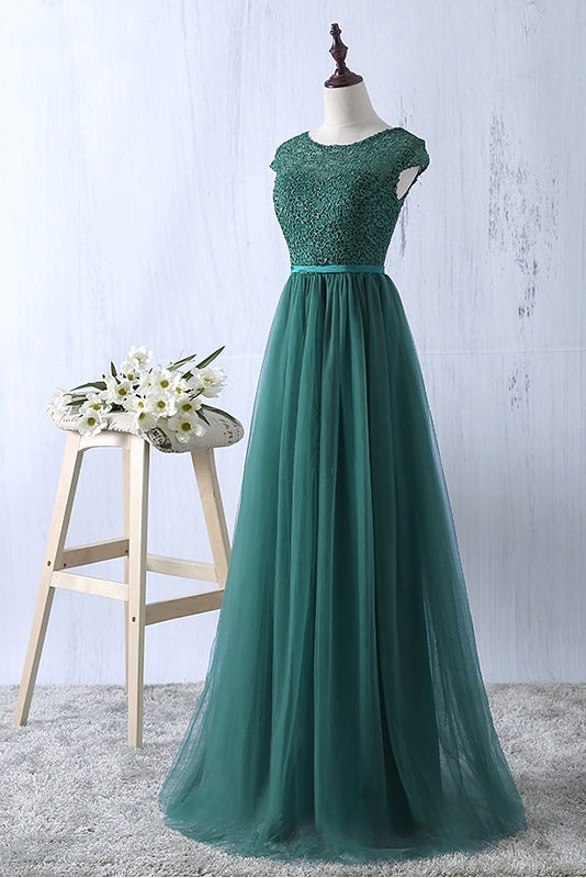 A-Line Green Round Neck Cap Sleeves Long Prom Dress(ED2122)