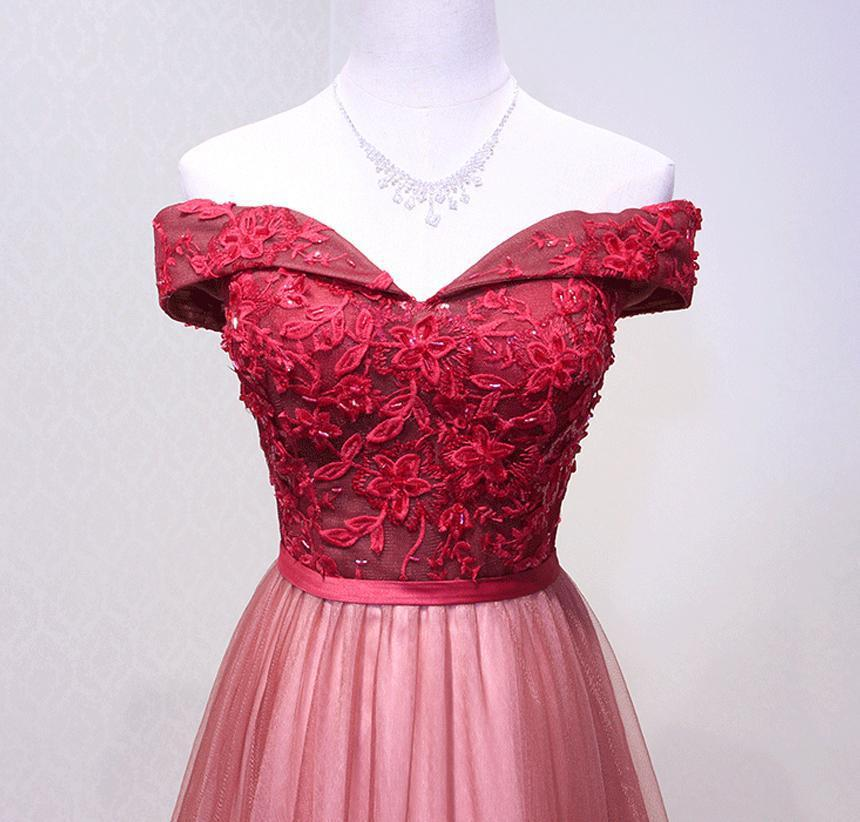A Line Red Off Shoulder Long Tulle Prom Dresses(ED2125)
