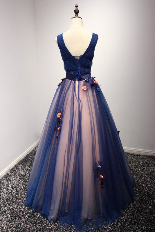 V-neck Long Tulle Navy Blue Prom Dresses Evening Gown(ED2128)