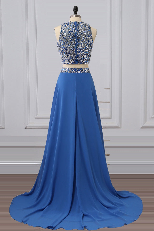 Two Pieces Beading Long Chiffon Prom Dresses (ED2130)