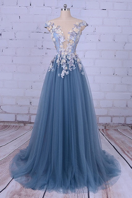 A Line  Long Tulle Prom Dresses with Applique(ED2135)